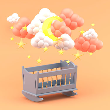 blue-baby-cradle-clouds-moonnd-stars-orange-3d-render